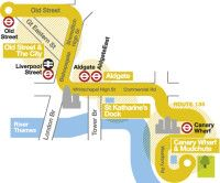 Bus Route 135: City to Docklands map