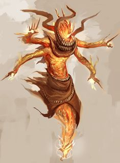 Ouktazaun (Arabian) - Evil gold-skinned Djinn which induce extreme greed in their victims. They guard treasures with passion and often work together with the Gaki/Preta they themselves have created. They serve the Sinlord of Greed without question.