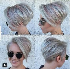 Pixie Haircuts with Bangs - 50 Terrific Tapers - cute layered pixie haircut - Short Stacked Bob Haircuts, Short Pixie Haircuts, Haircuts With Bangs, Short Bob Hairstyles, Cool Hairstyles, Pixie Bob, Long Pixie, Hairstyles 2016, Everyday Hairstyles