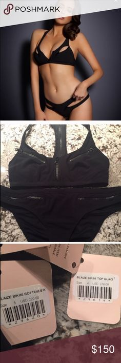 Agent Provocateur Blaize Black Bikini Never worn with tags!! Can be worn sexy or sporty, just zips away! Zipper detail gives it a cool sexy look! Very Bond girl!! Top is medium bottom is large. Agent Provocateur Swim Bikinis