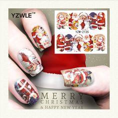 YZWLE 1 Feuille De Noël Conception DIY Stickers Ongles Art Impression de Transfert de L'eau Autocollants Accessoires Pour Manucure Salon (YZW-2135)