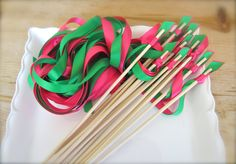 wedding wands / hot pink and green wedding Ohhh can we have ribbons. Tell me we can have ribbions Pink Green Wedding, Pink Wedding Theme, Pink And Green, Wedding Colors, Dream Wedding, Wedding Day, Wedding Stuff, Wedding Wands, Ribbon Wands