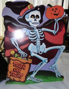 Vintage Halloween Decorations | Vintage Halloween Decoration Dancing Skeleton Die Cut by Eureka USA