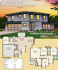 Architectural Designs 4-Bed Modern House Plan 85168MS has an open floor plan on the main floor and all the bedrooms upstairs. AND the laundry, too! How convenient! Over 2,300 square feet of heated living space. #twostoreyhomeplans