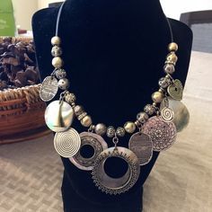 Chico's like new matted silver/gold necklace Make a statement with this very cool two-tone necklace with adjustable length clasp. Love this piece, just have to much jewelry!! Chico's Jewelry Necklaces