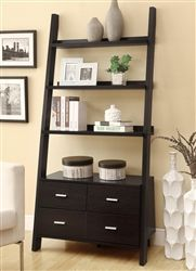 This striking Cappuccino finish bookcase will add a contemporary appeal to your home whether in a hallway, living room, or home office. The simple shelf design leans against the wall with storage drawers and shelves that are ideal Leaning Bookshelf, Ladder Bookshelf, Bookshelf Styling, Bookcase Shelves, Leaning Ladder, Open Shelves, Bookcases, Leaning Shelf, Bookshelf Ideas