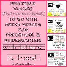These printables go with ABeka curriculum Preschool and kindergarten verses. Tracing practice is included with Isaiah & Psalm for letter K & L. Abeka Curriculum, Abeka Homeschool, Homeschool Kindergarten, Preschool Lessons, Preschool Ideas, Homeschooling Resources, Bible Resources, Preschool Education, Bible Activities