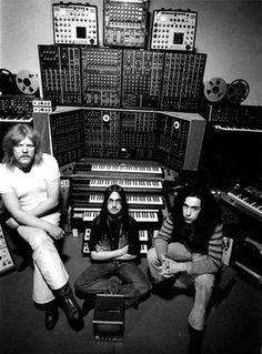 Tangerine Dream with their Moog modular synths in the spring of 1975 (L-R Edgar Froese, Christoph Franke & Michael Hoenig )