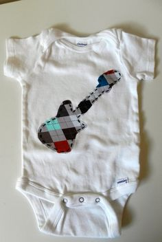 Appliqued Onesie with Argyle Guitar FREE Shipping