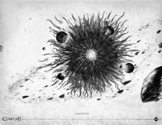 "Azathoth - Few descriptions of Azathoth are available. However, we know that once ""awake"", the God grows & expands geometrically at fantastic speed. It consumes everything in it's path. What remains is a chaos of simple elements and energy. I'm now convinced that Azathoth was the original ""Big Bang"""