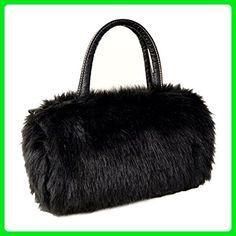 5cebbbf0e064 FUNOC Ladies Women's shoulder HandBag Faux Fur Clutch Tote Hobo Bag Long  Purse Wallet (Black
