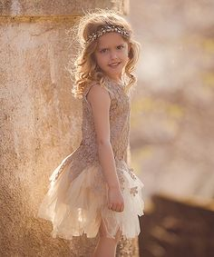 Look at this Trish Scully Child Antique Gold Lady Marabella Dress - Toddler & Girls on #zulily today!