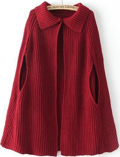 To find out about the Red Lapel Loose Knit Cape Sweater at SHEIN, part of our latest Sweaters ready to shop online today! Crochet Ruffle, Crochet Cape, Crochet Shawl, Knit Crochet, Knitted Cape Pattern, Knitted Poncho, Latest Street Fashion, Crochet Clothes, Pullover