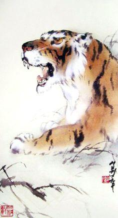 Tiger -  by Au Ho-Nien (1935 - ), China. Lingnan School.