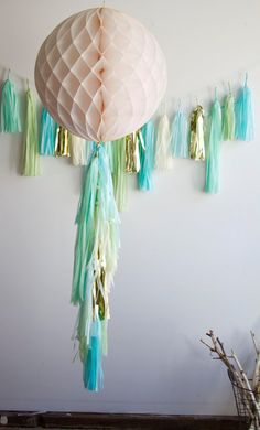 Aquamarine Tassel Garland by PaperFoxLA on Etsy