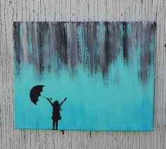 Little Girl Silhouette Standing In Abstract Rain Painting, Hand Painted Canvas Wall Art, Teal and Grey Nursery, Teal and Gray Decor Shadow Painting, Rain Painting, Acrylic Painting Canvas, Painting & Drawing, Canvas Wall Art, Silhouette Painting, Girl Silhouette, Canvas Silhouette, Metal Tree Wall Art