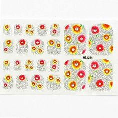 Kaifina 22PCS Mix Sizes Other Full Nail Art Stickers Decals Rhinestone Yellow Flower for Foot Toes Nail Art Decorations * Details can be found by clicking on the image.