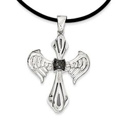 Black Diamond Cross Wings Men's Pendant Cord Necklace Jewelry Available Exclusively at Gemologica.com