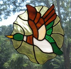 Stained Glass Duck Panel/Brown/Green/Art Glass/Handcrafted/Made in USA