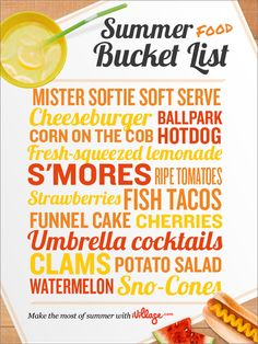 Summer Food bucket list. I feel a Canadian style summer in England will be required this year!
