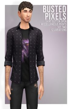 Shirt Button Miscellaneous Prints Set Two at Busted Pixels via Sims 4 Updates