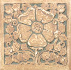 """Tile Restoration Center: Tudor Rose6"""" x 6"""". Reproduction of a Batchelder Tile. Arts & Crafts Relief Tile."""
