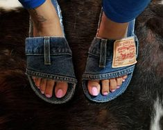 Denim shoes for women Jean Crafts, Denim Crafts, Timberland Waterproof Boots, Timberland Boots, Glitter Timberlands, Denim Slides, Denim Sandals, Superstars Shoes, Recycle Jeans