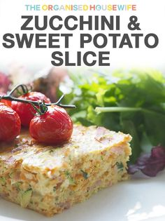 This zucchini and sweet potato slice was a really lovely light meal, perfect for those very hot days to serve cold with salad. Sweet Potato Slices, Sweet Potato Recipes, Savoury Recipes, Savoury Dishes, Cheese Recipes, Real Food Recipes, Cooking Recipes, Yummy Food, Yummy Recipes