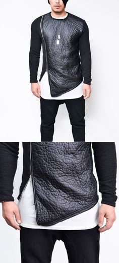 Tops :: Tees :: Thick Zippered Leather Contrast Knit-Tee 637 - Mens Fashion Clothing For An Attractive Guy Look