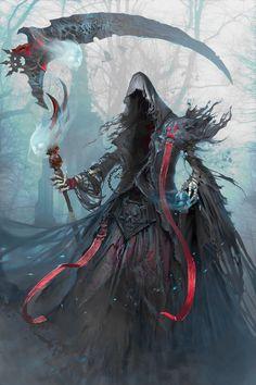 The Death by yakun wang Concept artist in Tencent Games Dark Fantasy Art, Fantasy Artwork, Dark Art, Fantasy Character Design, Character Art, Grim Reaper Art, Anime Grim Reaper, Arte Cyberpunk, Arte Obscura