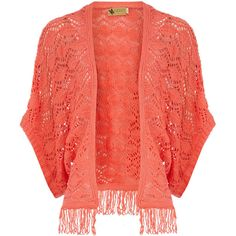 Coral tassel fringe shrug ($9.23) ❤ liked on Polyvore featuring tops, cardigans, jackets, outerwear, sweaters, coral, shrug top, fringe top, bat sleeve cardigan and batwing sleeve top