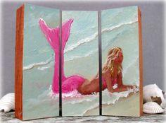 Ocean mermaid- beach home decor, original mermaid painting on 3 wood blocks. $55.00, via Etsy.