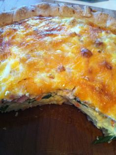 Quiche!! Great basic recipe for any kind....I use 8 eggs and 1/2 c. milk, 1-2 cups of cheese and veggies-spinach, mushrooms. Yum!