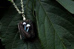 wooden book medallion woodland mushrooms polymer clay elven
