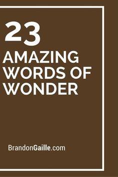 23 Amazing Words of Wonder