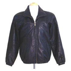 Vintage 1980s Jacket  Black Leather Bomber Biker Preston & York