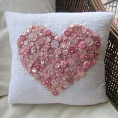 As cute as a button hand knit pillow cover by LadyshipDesigns Sewing Pillows, Diy Pillows, Decorative Pillows, Cushions, Throw Pillows, Pillow Ideas, Button Art, Button Crafts, Heart Button