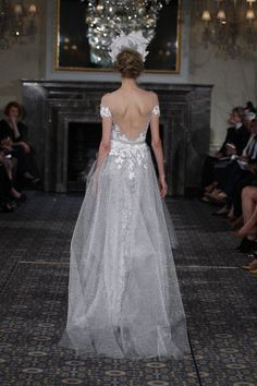 love the lace detail all the way to the waist, then the skirt gathered on the back comes out of it!