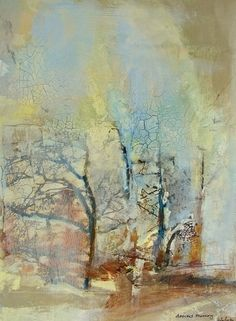 """Contemporary Landscape Artists International: Abstract Mixed Media,Collage Art Painting, Trees,""""Ancient Memory"""" by Intuitive Artist Joan Fullerton Abstract Landscape Painting, Landscape Art, Landscape Paintings, Abstract Art, Painting Trees, Tree Paintings, Original Paintings, Original Art, Collage Art Mixed Media"""