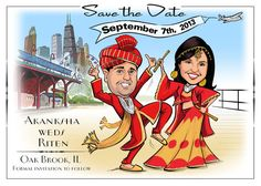 Indian wedding save the date or invitations with a custom cartoon portrait of the bride and groom! Your guests will love these!