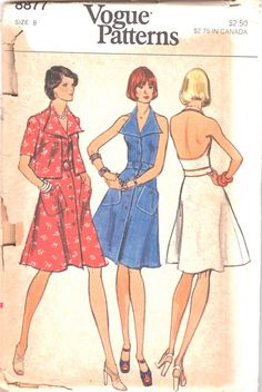 Vogue 8877 1970s Misses Sailor Style Low Back Halter Dress and Cropped Jacket wing collar womens vintage nautical sewing pattern by mbchills