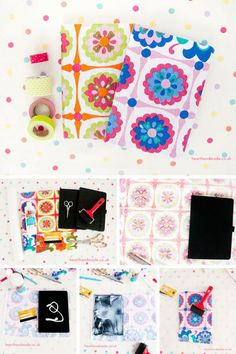 How To decoupage a vintage tea towel notebook or sketchbook - click through for full tutorial