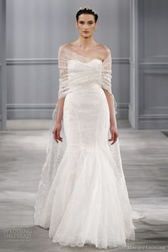 monique lhuillier spring 2014 bridal intrigue strapless wedding dress lace shawl