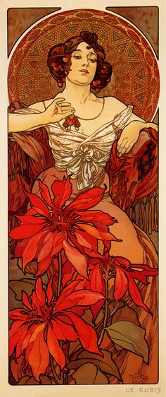 Mucha Ruby Poster...would switch to one messy bun on top side...