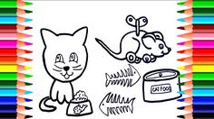 Animal Coloring Pages How To Draw Cats Cat Food Draw And Paint For Ki Animal Coloring Pages Cat Drawing Cat Food