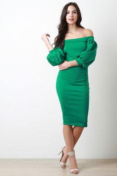 Bishop Sleeve Off The Shoulder Dress