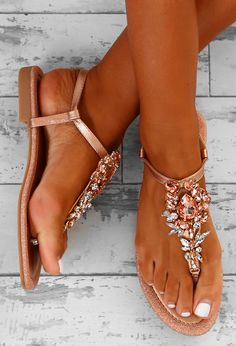 Can t Get Enough Rose Gold Embellished Flat Sandals. Shop women s footwear  at Pink Boutique - from summer sandals to flip flops ... 54704a5037a6