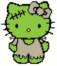 Frankenstein Hello Kitty Cross Stitch Pattern