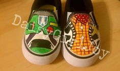 Custom hand painted Disney Pixar Toy Story Buzz & Woody Toddler Children's shoes