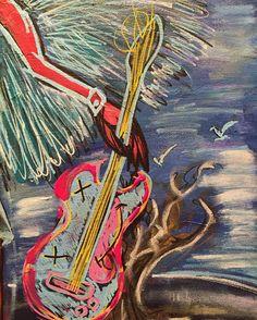 Details musicaangel guitar / #pooshy #fuckinartist #artisajoke #angel #fallenangel #music #guitar #popart #art #artwork #canvas #neoexpressionism #urbanart #streetart #poetry #sun #love #myart #skull by pooshy_al.x